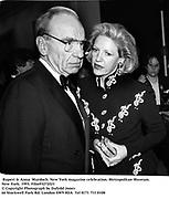 Rupert & Anna  Murdoch. New York magazine celebration. Metropolitan Museum. New York. 1993. Film93272f23<br /> © Copyright Photograph by Dafydd Jones<br /> 66 Stockwell Park Rd. London SW9 0DA<br /> Tel 0171 733 0108