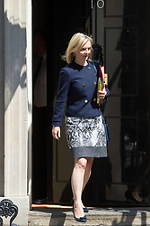 London, June 20th 2017. Chief Secretary to the Treasury Liz Truss leaves the weekly cabinet meeting at 10 Downing Street in London.