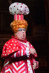 """© Licensed to London News Pictures. 08/12/2011. London, England. Eric Potts as Sarah the Cook. Dick Whittington panto starring Dame Edna Everage (Barry Humphries) as the """"Saviour of London"""" opens at the New Wimbledon Theatre, London. The show, written and directed by Eric Potts is scheduled to run to 15 January 2012. Photo credit: Bettina Strenske/LNP"""