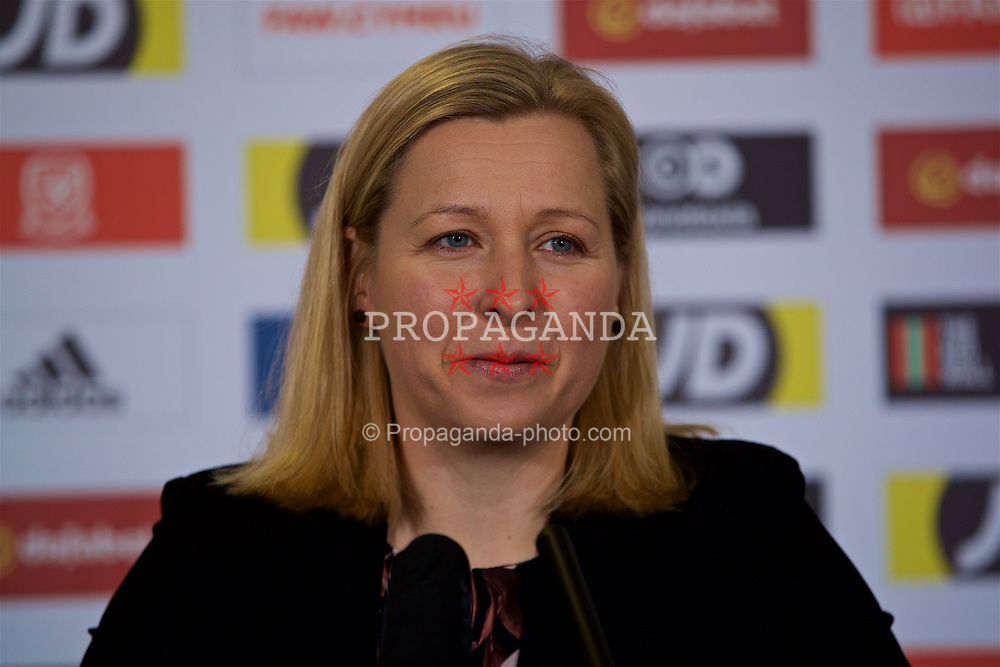 CARDIFF, WALES - Monday, January 14, 2019: Wales manager Jayne Ludlow during a press conference at the Cardiff City Stadium to announce the squad for the forthcoming International Friendly game against Italy. (Pic by David Rawcliffe/Propaganda)