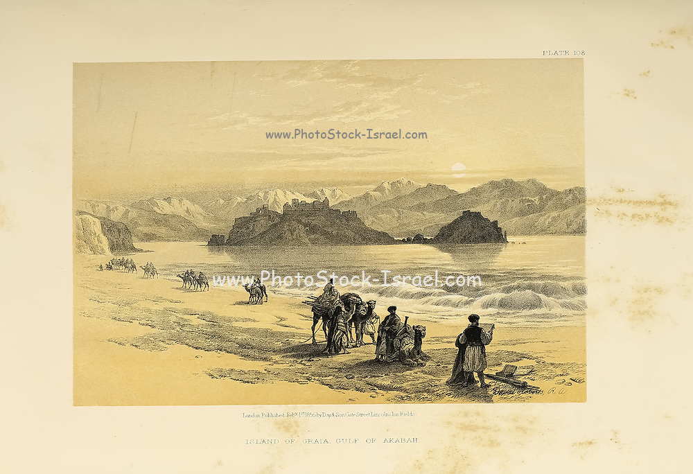 The Island of Graia Gulf of Akabah By David Roberts., Isle of Graia also known as Pharaoh's Island, is an island in the northern Gulf of Aqaba off the shore of Egypt's eastern Sinai Peninsula. from The Holy Land : Syria, Idumea, Arabia, Egypt & Nubia by Roberts, David, (1796-1864) Engraved by Louis Haghe. Volume 4. Book Published in 1855 by D. Appleton & Co., 346 & 348 Broadway in New York.