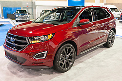 CHARLOTTE, NC, USA - November 11, 2015: Ford Edge on display during the 2015 Charlotte International Auto Show at the Charlotte Convention Center in downtown Charlotte.