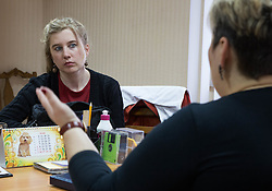 Emilie Rouvroy MSF Field Coordinator in Lugansk meets with local community leaders in Lugansk to discuss their healthcare needs and MSF's potential role in assistance.