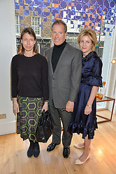 Left to right, LADY SARAH CHATTO, VISCOUNT LINLEY and VISCOUNTESS LINLEY at a party to celebrate the 30th anniversary of Linley held at Linley, 60 Pimlico Road, London on 3rd May 2016.