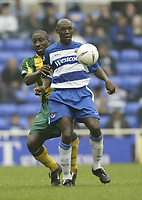 Photo Aidan Ellis, Digitalsport<br /> NORWAY ONLY<br /> <br /> Reading v West Bromwich Albion.<br /> Nationwide Divison 1.<br /> 01/05/2004.<br /> Reading's Shaun Goater holds off the challenge from West Brom's Darren Moore