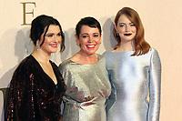 Rachel Weisz, Olivia Colman, Emma Stone, The Favourite - UK Premiere, BFI London Film Festival, BFI Southbank, London, UK, 18 October 2018, Photo by Richard Goldschmidt