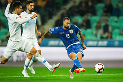 Fotis Papoulis of Cyprus vs Nemanja Mitrovic of Slovenia and Miha Mevlja of Slovenia during football match between National Teams of Slovenia and Cyprus in Final Tournament of UEFA Nations League 2019, on October 16, 2018 in SRC Stozice, Ljubljana, Slovenia. Photo by  Morgan Kristan / Sportida