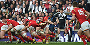Twickenham. Great Britain.<br /> Gareth DAVIES, throws a flat pass from the back of the scrum, during the <br /> RBS Six Nations Rugby, England vs Wales at the RFU Twickenham Stadium. England.<br /> <br /> Saturday  12/03/2016 <br /> <br /> [Mandatory Credit; Peter Spurrier/Intersport-images]