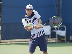 August 22, 2017 - New York, New York, United States - Mackenzie McDonald of USA returns ball during qualifying game against Yannick Maden of Germany at US Open 2017  (Credit Image: © Lev Radin/Pacific Press via ZUMA Wire)