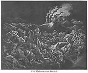 The Midianites are Routed [The Midianites Put to Flight] Judges 7:22-23 From the book 'Bible Gallery' Illustrated by Gustave Dore with Memoir of Dore and Descriptive Letter-press by Talbot W. Chambers D.D. Published by Cassell & Company Limited in London and simultaneously by Mame in Tours, France in 1866