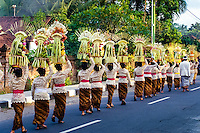Bali, Badung, Sangeh. South of Sangeh, close to 100 women with offerings on their head. Everyone is dressed in traditional costumes.