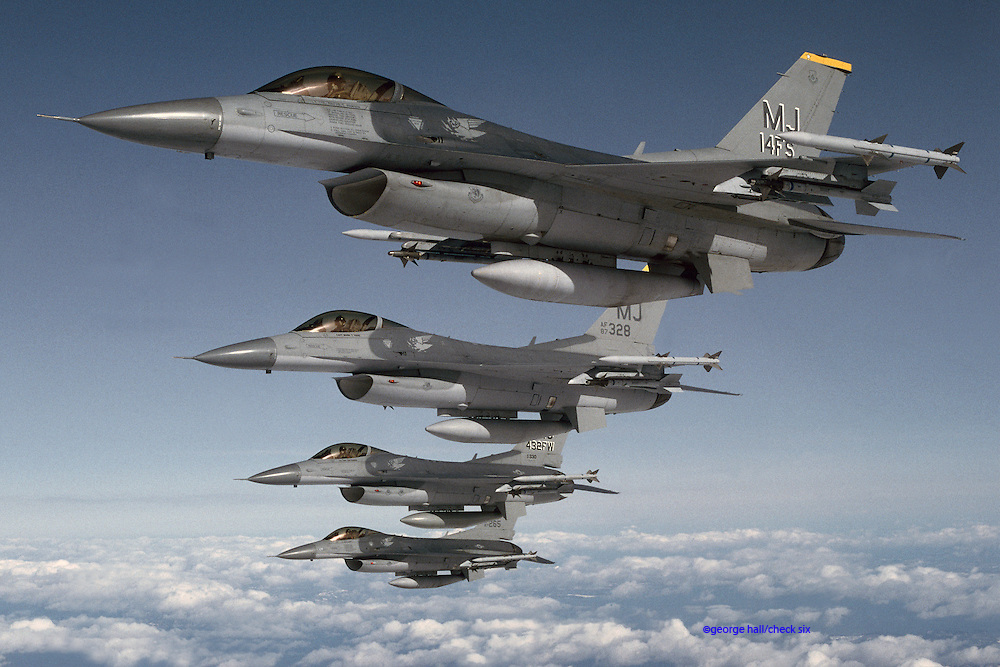 F-16s flying in formation, Japan