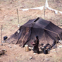 A nomad family's tent in the Manang Valley north of Annapurna in Nepal.