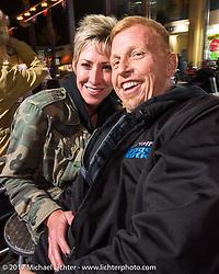 Suzy and Paul Yaffe at the Cruisin' Cafe on Main Street during Daytona Beach Bike Week. FL. USA. Sunday March 12, 2017. Photography ©2017 Michael Lichter.