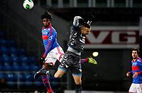 Fotball<br /> Tippeligaen<br /> Ullevål Stadion 10.11.13<br /> Vålerenga VIF - Sandnes Ulf<br /> Joseph Baffo i duell med Milos Mihajlov<br /> <br /> Foto: Eirik Førde