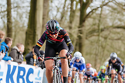 Lisa Brennauer battles her way to the top of Kemmelberg - Women's Gent Wevelgem 2016, a 115km UCI Women's WorldTour road race from Ieper to Wevelgem, on March 27th, 2016 in Flanders, Belgium.