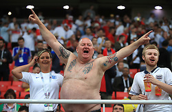 England fans show their support in the stands ahead of the FIFA World Cup 2018, round of 16 match at the Spartak Stadium, Moscow.