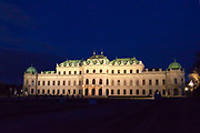 Belvedere Palace, Vienna, Austria at night