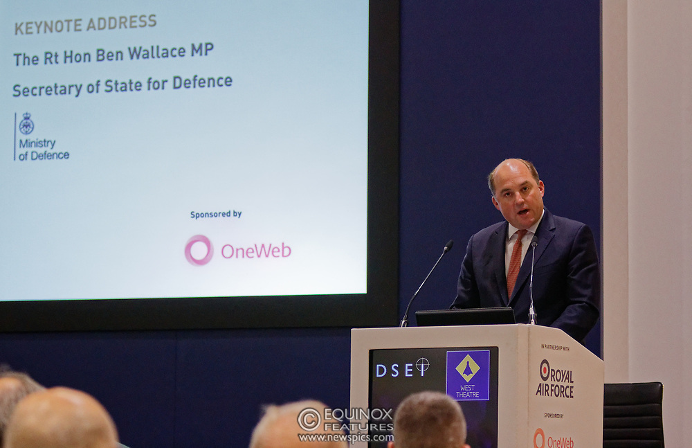 London, United Kingdom - 11 September 2019<br /> The Rt Hon Ben Wallace MP. Secretary of State for Defence for the UK Government presents keynote address speech to audience at DSEI 2019 security, defence and arms fair at ExCeL London exhibition centre.<br /> (photo by: EQUINOXFEATURES.COM)<br /> Picture Data:<br /> Photographer: Equinox Features<br /> Copyright: ©2019 Equinox Licensing Ltd. +443700 780000<br /> Contact: Equinox Features<br /> Date Taken: 20190911<br /> Time Taken: 12374449<br /> www.newspics.com
