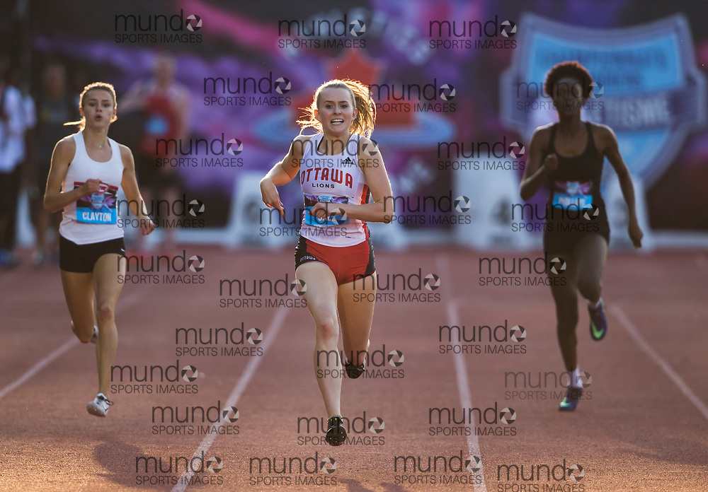 (Montreal, Canada---27 July 2019) Lauren Gale pulls away in the home straight to win the U20 400m at 2019 Canadian Track and Field Championships at the Claude Robillard Sports Centre in Montreal. 2019 Copyright Sean Burges / Mundo Sport Images.