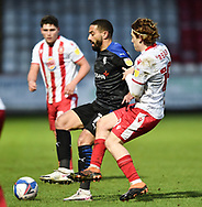 Liam Feeney of Tranmere Rovers battles for possession with Stevenage midfielder Arthur Read(19)*** during the EFL Sky Bet League 2 match between Stevenage and Tranmere Rovers at the Lamex Stadium, Stevenage, England on 16 January 2021.