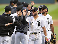 CHICAGO - SEPTEMBER 28:  Yoan Moncada #10 of the Chicago White Sox celebrates with teammates after the game against the Detroit Tigers during the first game of a double header on September 28, 2019 at Guaranteed Rate Field in Chicago, Illinois.  (Photo by Ron Vesely)  Subject:   Yoan Moncada