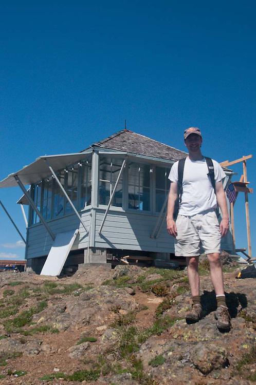 Joe at Desolation Peak Lookout, Desolation Peak, North Cascades National Park, Washington, US