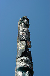 Alaska, Juneau: Juneau-Douglas City Museum, totem pole  .Photo #: alaska10278 .Photo copyright Lee Foster, 510/549-2202, lee@fostertravel.com, www.fostertravel.com..