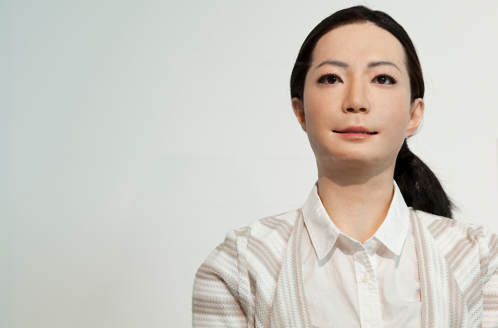 Portrait of Otonaroid lifelike robot at Miraiken Science Museum, Odaiba, Tokyo. Japan. Friday June 27th 2014. Created by Osaka robotics professor, Hiroshi Ishiguro the remotely-controlled android tests people interact with androids.