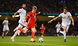 October 11, 2018 - Cardiff City, Walles, United Kingdom - Cardiff, Wales October 11, ..David Brooks of Wales and Marc Bartra of Spain challenge for the ball during the match during Exhibition Match between Wales and Spain at Principality stadium, Cardiff City, on 11 Oct  2018. (Credit Image: © Action Foto Sport/NurPhoto via ZUMA Press)