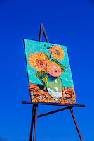 "Replica of Van Gogh's Three Sunflowers in a Vase by Cameron Cross (the painting is 80 feet tall), The easel,billed as ""The World's Largest Easel"" is 32x24 feet; Goodland, Western Kansas USA."