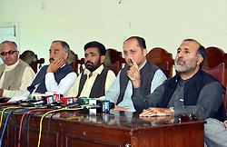 April 4, 2017 - Pakistan - QUETTA, PAKISTAN, APR 04: Awami National Party (ANP) Provincial President, Asghar .Khan Achakzai addresses to media persons during press conference at Quetta press club on .Tuesday, April 04, 2017. (Credit Image: © PPI via ZUMA Wire)