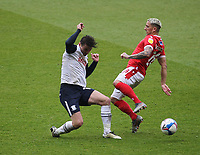 Preston North End's Ryan Ledson in action with  Nottingham Forest's Anthony Knockaert<br /> <br /> Photographer Mick Walker/CameraSport<br /> <br /> The EFL Sky Bet Championship - Nottingham Forest v Preston North End - Saturday 8th May 2021 - The City Ground - Nottingham<br /> <br /> World Copyright © 2020 CameraSport. All rights reserved. 43 Linden Ave. Countesthorpe. Leicester. England. LE8 5PG - Tel: +44 (0) 116 277 4147 - admin@camerasport.com - www.camerasport.com