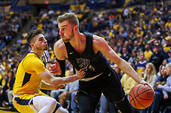 Mar 20, 2019; Morgantown, WV, USA; Grand Canyon Antelopes guard Tim Finke (24) drives baseline during the first half against the West Virginia Mountaineers at WVU Coliseum. Mandatory Credit: Ben Queen