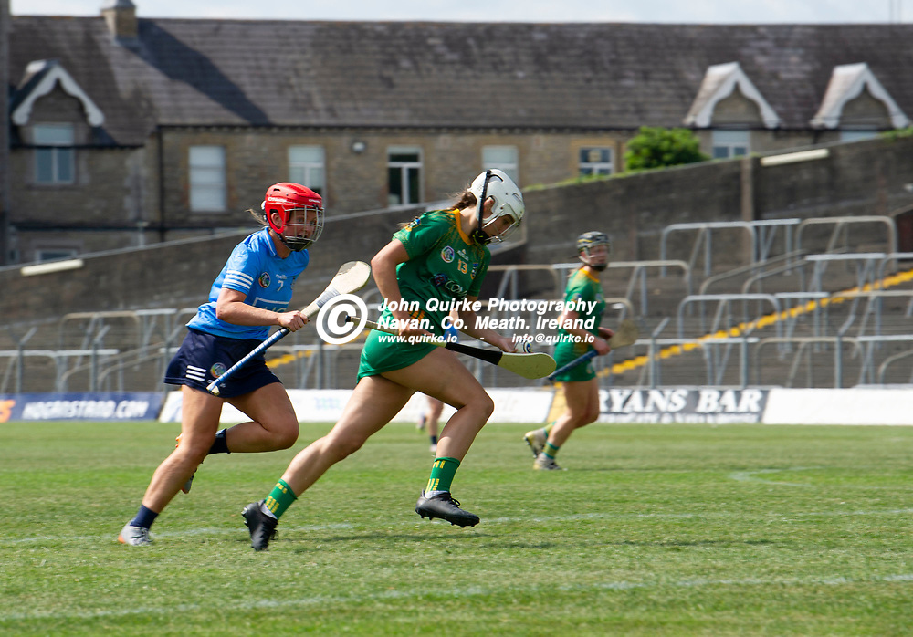 25-07-21. Meath v Dublin All-Ireland Intermediate Camogie Championship (Group 1) at Pairc Tailteann, Navan.<br /> Maire Kirby, Meath in action against Nicola Thorn, Dublin in the All-Ireland Intermediate Camogie Championship.<br /> Photo: John Quirke / www.quirke.ie<br /> ©John Quirke Photography, 16 Proudstown Road, Navan. Co. Meath. (info@quirke.ie / 046-9028461 / 087-2579454).