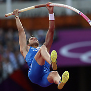 Konstadinos Filippidis, Greece, in action during the Men's Pole Vault Final at the Olympic Stadium, Olympic Park, Stratford during the London 2012 Olympic games. London, UK. 10th August 2012. Photo Tim Clayton