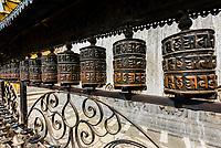 Prayer wheels, Swayambhunath Stupa. The temple sits atop a hill west of Kathmandu, Nepal.