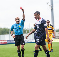 Ref George Salmond shows Falkirk's Phil Roberts a red card for dissent.<br /> Falkirk 1 v 2 Dumbarton, Scottish Championship game played today at the Falkirk Stadium.<br /> ©Michael Schofield.