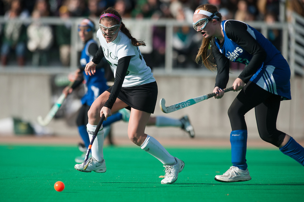 The Vermont high school division II girls field hockey championship game between the U-32 Raiders and the Rice Green Knights at Moulton/Winder field on Saturday November 1, 2014 in Burlington, Vermont.