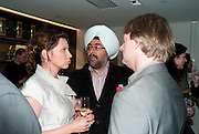 Tena Stivicic; Hardeep Singh Kohli; DOUGLAS HENSHALL, The French Laundry reception to celebrate the October opening of the 10-day pop-up ' French laundry restaurant in Harrods. The Penthouse, Harrods. London. 31 August 2011.<br /> <br />  , -DO NOT ARCHIVE-© Copyright Photograph by Dafydd Jones. 248 Clapham Rd. London SW9 0PZ. Tel 0207 820 0771. www.dafjones.com.