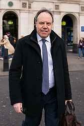 © Licensed to London News Pictures. 03/04/2019. London, UK. Deputy leader of the Democratic Unionist Party (DUP) Nigel Dodds in Westminster. Yesterday evening British Prime Minister Theresa May made a statement in Downing Street offering to go into talks with Leader of the Labour Party Jeremy Corbyn, following the announcement of a request for an extension to article 50, thereby delaying Britain leaving the European Union. Photo credit : Tom Nicholson/LNP