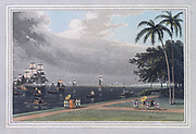 VIEW OF CALCUTTA FROM THE GARDEN REACH. CALCUTTA is situated on that part of Bengal called the Sunderbund, a woody peninsula, which from its triangular figure has acquired the appellation of the Delta of the Ganges. It is the Hoogly, the western branch of that magnificent river, which is here visible. colour print from the book ' A Picturesque Voyage to India by Way of China  ' by Thomas Daniell, R.A. and William Daniell, A.R.A. London : Printed for Longman, Hurst, Rees, and Orme, and William Daniell by Thomas Davison, 1810. The Daniells' original watercolors for the scenes depicted herein are now at the Yale Center for British Art, Department of Rare Books and Manuscripts,