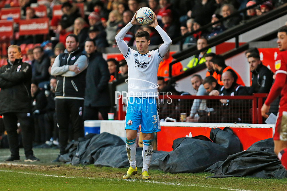 Josh Doherty takes a throw-in during the EFL Sky Bet League 2 match between Walsall and Crawley Town at the Banks's Stadium, Walsall, England on 18 January 2020.