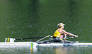 Lucerne, SWITZERLAND.  Women's Single Scull Semi-Final, AUS W1X. Kim CROW. finish area. 2012 FISA Olympic Qualifying Regatta on the Rotsee Rowing Course,  Tuesday  22/05/2012  [Mandatory Credit Peter Spurrier/ Intersport Images]