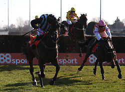 Bags Grove and Noel Fehily clears the last fence before winning The 888Sport Pendil Novices' Steeple Chase Race run at Kempton Park Racecourse.