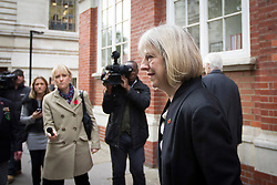 © Licensed to London News Pictures. 07/11/2013. London, UK. The British Home Secretary, Theresa May, is seen leaving the 'Policy Space' in Westminster, London, today (07/11/2013) after delivering a speech on Police Reform. Photo credit: Matt Cetti-Roberts/LNP