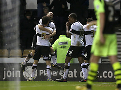 Derby County's Chris Martin celebrates his winning goal with Derby County's Jake Buxton - Photo mandatory by-line: Matt Bunn/JMP - Tel: Mobile: 07966 386802 28/01/2014 - SPORT - FOOTBALL - Pride Park - Derby - Derby County v Yeovil Town - Sky Bet Championship