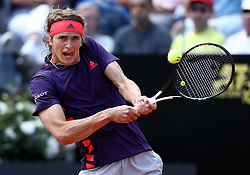 May 14, 2019 - Rome, Italy - Alexander Zverev (GER) during the ATP Internazionali d'Italia BNL first round match at Foro Italico in Rome, Italy on May 14, 2019. (Credit Image: © Matteo Ciambelli/NurPhoto via ZUMA Press)