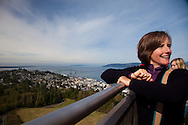National Geographic Sea Lion's Columbia River Expedition in the Pacific Northwest, Oregon. The newly restored Astoria Column which offers unsurpassed views of the mouth of the Columbia River and the city of Astoria.