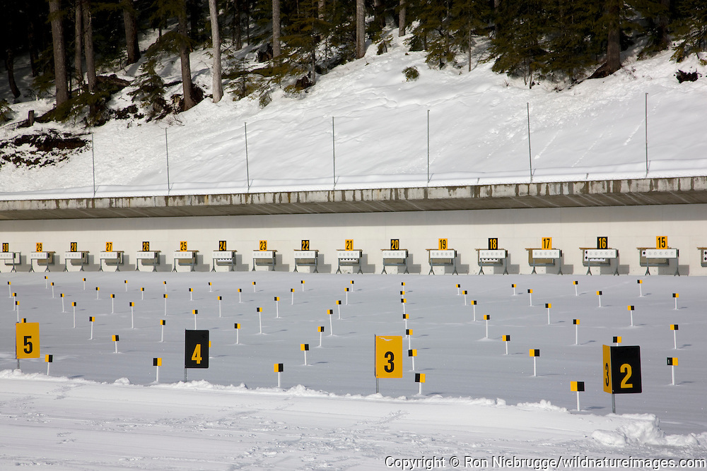 The Biathlon Competition Centre at the Whistler Olympic Park host of the nordic events in the 2010 Vancouver Winter Olympics, Whistler, British Columbia, Canada.